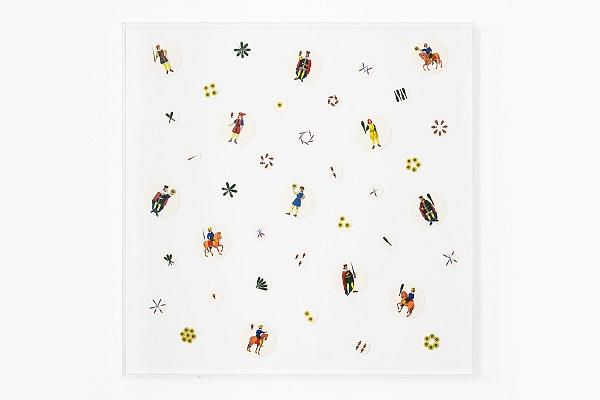 Angelo Formica, Senza titolo, collage su ostie su forex in teca, 2011, Galleria Toselli