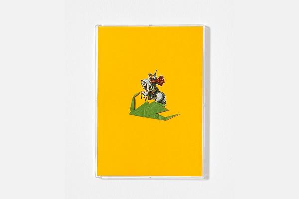 Angelo Formica, San Giorgio e il drago, collage su forex in teca, 2013, Galleria Toselli