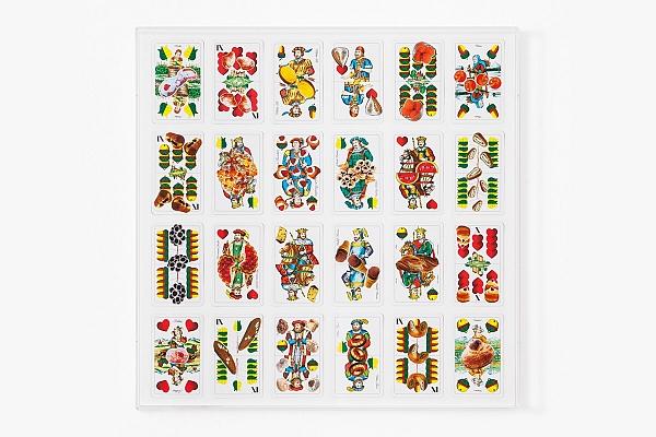 Angelo Formica, Doppio gioco, collage su forex in teca, 2012, Galleria Toselli