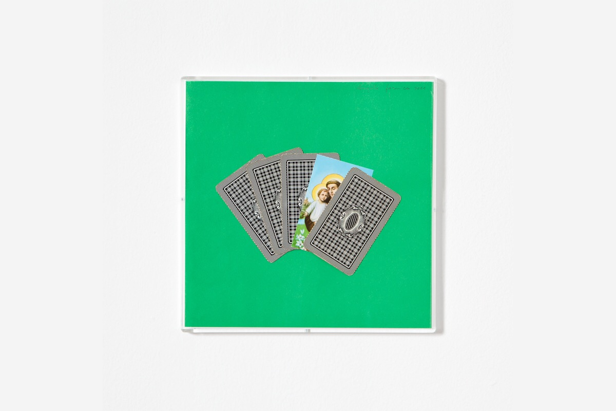 Angelo Formica, Poker, collage on forex in case, 2011, Galleria Toselli
