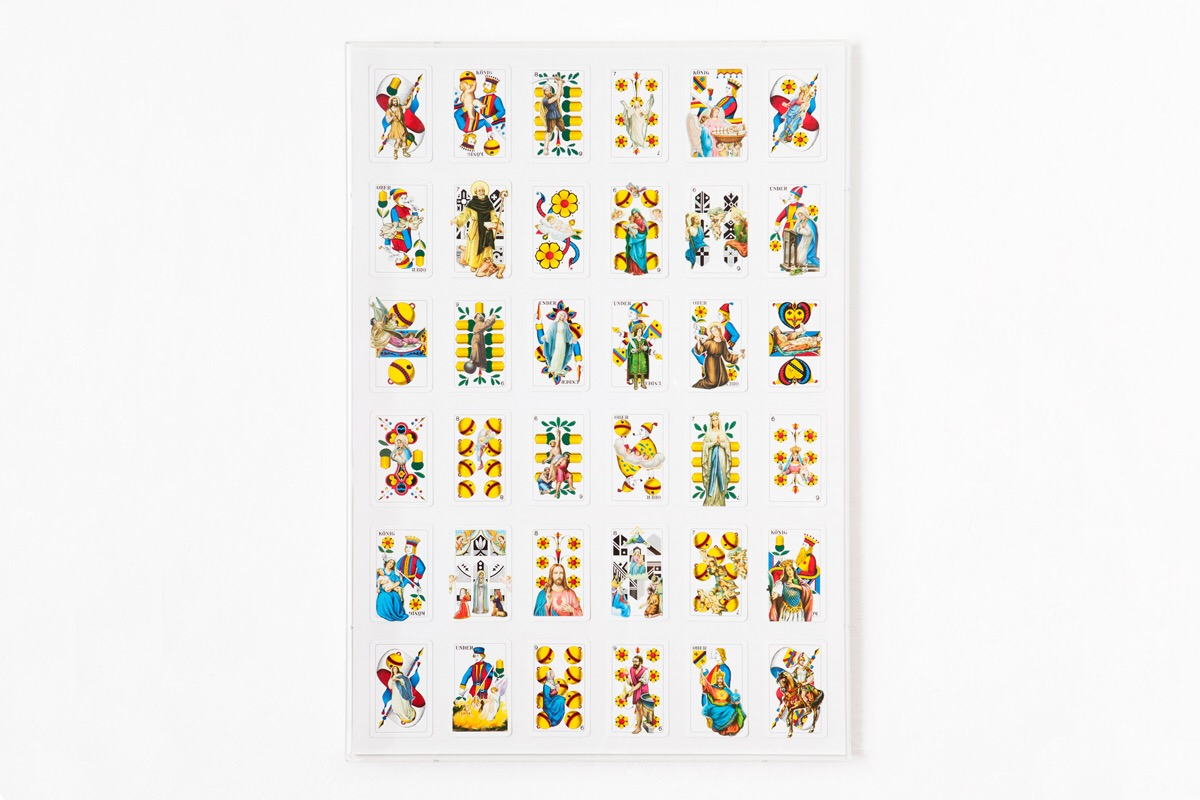 Angelo Formica, Doppio gioco, collage su forex in teca, 2013, Galleria Toselli
