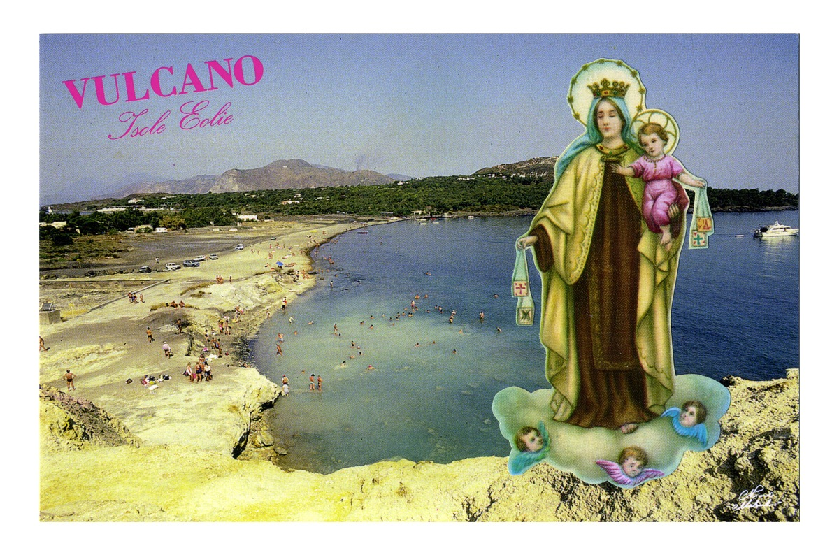 Angelo Formica, Vacanze protette, collage in case, 2013, Galleria Toselli